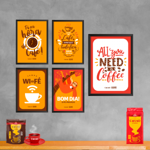 composição com quadros para cantinho do café
